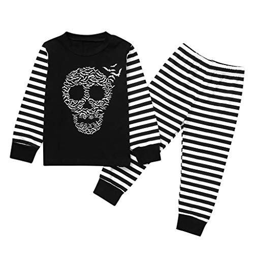 2-Pieces Kids Boys Girls Family Matching Cotton Halloween Bat Skull Pajamas Pants Sets Sleepwear Clothes Outfits Set (12Months-6Years) (The Boy In The Striped Pyjamas Out With)