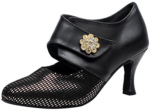 Abby Tango Heel Cha Low Dance Ballroom Shoes Womens Wedding Swing Sole Cha Closed Toe Sudue Salsa Party Latin Leather 7014 2IN Black qYxTwq0Ar