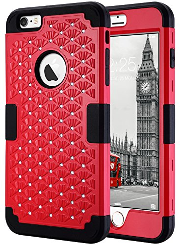 iPhone 6s Plus Case, iPhone 6 Plus Case Glitter, ULAK 3D Bling Rhinestone Heavy Duty Shockproof Hybrid Hard PC Soft Silicone Rubber Protective Case for iPhone 6 Plus / iPhone 6s Plus 5.5inch - Red