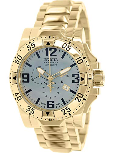 Dial Chronograph Mop Black - Invicta Men's 6257 Excursion Collection Chronograph 18k Gold-Plated Stainless Steel Watch