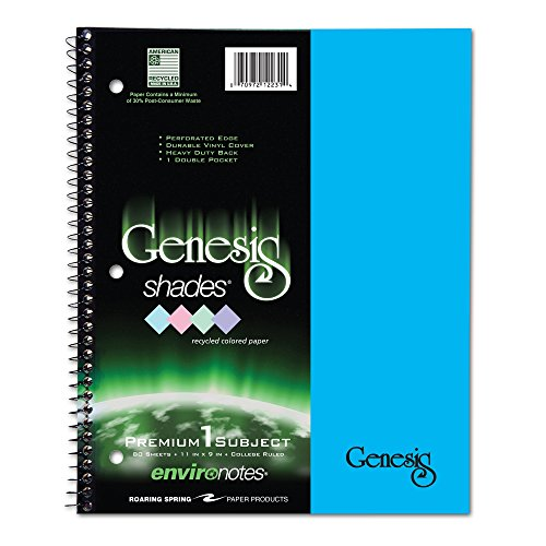 Roaring Spring Genesis Blue Shades Wirebound Notebook, One Subject, 11x9