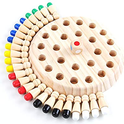 weiqingshipin Wooden Memory Match Chess Game Fun Educational Game Improve Children's Color Cognition Ability Digital Learning Memory Ability Parent-Child Interactive Game: Toys & Games