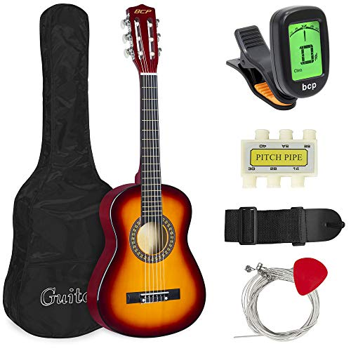 (Best Choice Products 30in Kids Classical Acoustic Guitar Complete Beginners Set, Musical Instrument Kit w/Carry Bag, Picks, E-Tuner, Strap -)