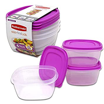 Rubbermaid Easy Find Lid Food Storage Container, 14 Cup, Purple   6 Piece Set by Rubbermaid