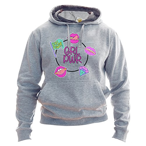 Grl Pwr Sudadera con Capucha Girl Power Hoodie Feminist Feminism Patches Hipster Festival Outfit Sudadera Gris