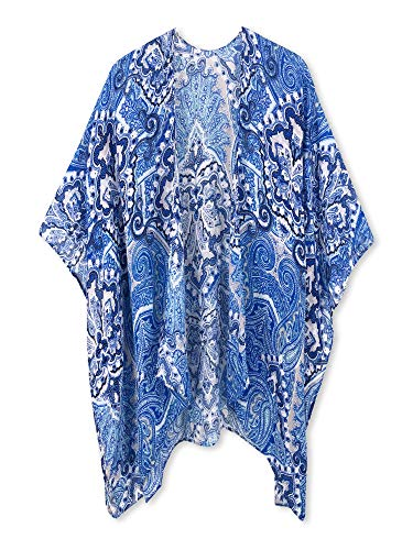 (Moss Rose Women's Beach Cover up Swimsuit Kimono Cardigan with Bohemian Floral Print (Blue Print))