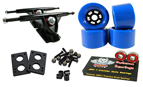 Longboard 180mm Trucks Combo w/83mm Flywheels + Owlsome ABEC 7 Bearings (Blue) ()