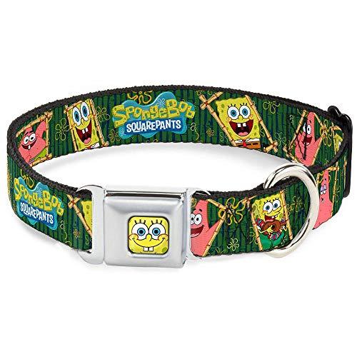 Buckle-Down Seatbelt Buckle Dog Collar - SpongeBob & Patrick Starfish Bamboo Frames/Logo - 1