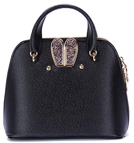 Bolsos de señora Xinmaoyuan orejas de conejo conchas de señoras de moda bolsos cruz diagonal hombro bolsa femenina Negro