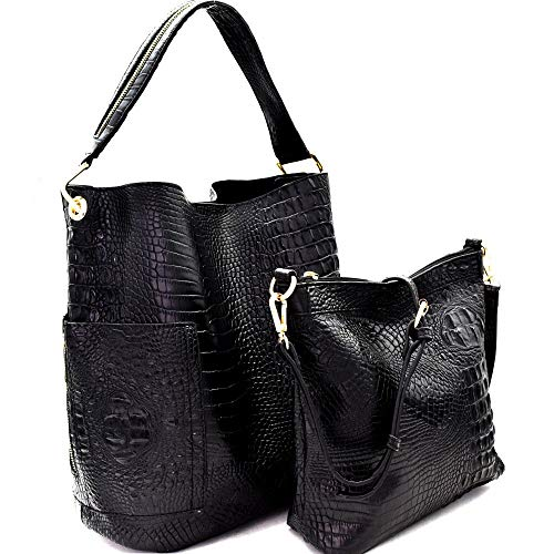 Handbag Republic Croc Embossed Side Pocket Tote w/Inner Bag Crossbody(Black)