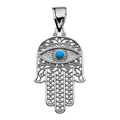 Middle Eastern Jewelry Sterling Silver Hamsa Hand with Blue Evil Eye Pendant Necklace