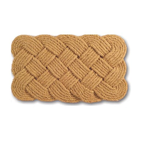 Knot Design Rope Door Mat, Braided Floor Mat Non Slip Rug Hand Woven Front Door Rug Entrance Mat Modern Stylish Contemporary Luxury Elegant Durable Natural Brown 30 Inch, Coir