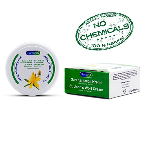 SanteFIX St Johns Wort -No Chemicals- Skin Treatment Cream with Olive Oil for Acne & Hemorrhoid & Scar Removal & Wound Care & Stretch Mark & Bed Sore