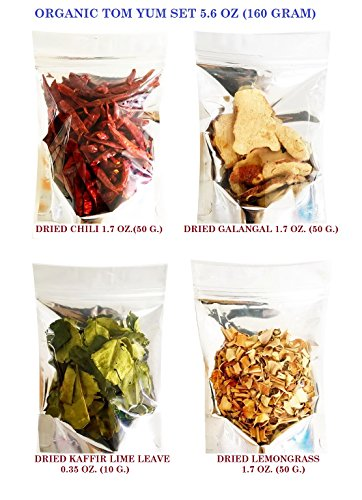 (SPICY SERVED Organic Tom Yum Set Thai Food Hot & Spicy Soup 160 g. for Dried Chilli 50 g./Dried Galangal 50 g./Dried Lemongrass 50 g.and Dried Kaaffir Lime Leave 10 g.)