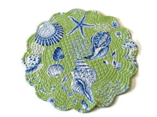 Ocean Beach Green Sea Shell Reversible Placemats Set/4