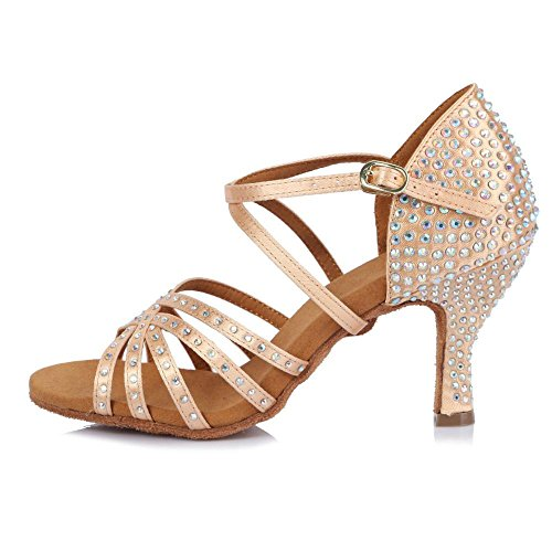 YFF Women's Tango/Ballroom/Latin Dance Shoes Heeled Salsa Professional Party Beige Zr8ESEGPmX