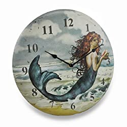 Things2Die4 Wood Wall Clocks Pretty Mermaid On The Beach Weathered Finish Metal Wall Clock 11.75 X 11.75 X 1.5 Inches Multicolored