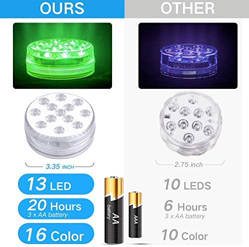 KJOY 4Pcs Submersible LED Lights with RF Remote, Magnets, Suction Cups, Battery Operated IP68 Waterproof Underwater Light, 13LED 16 Color Changing Pond Lights for Inground Aquarium Fountain Vase