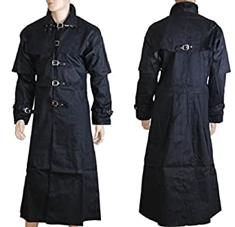 Black Gothic Steampunk Style Buckle Fastening Caped Long Trench Coat (XXXL)