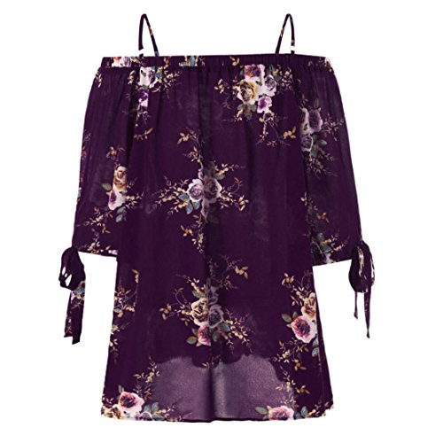 TOPUNDER Cold Off The Shoulder Short Sleeve Flowy Trendy Embroidered Shirt for Women