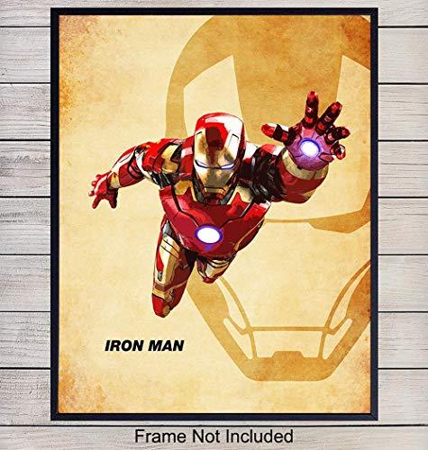 (Iron Man Superheroes Wall Art Print - Home Decor for Boys, Kids Room or Den - Great Gift for Superman, Batman, Spiderman, Captain America, Wolverine, Marvel, DC Comic Books Fans- 8x10 photo - Unframed)
