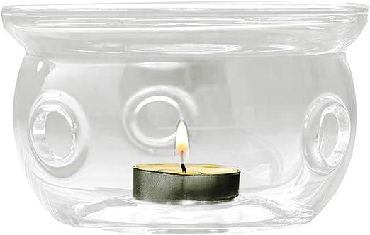 Kenyaw Calentador Cristal Transparente Calentador De Vidrio Calentador De T/é Transparente Calentador De Tetera para 200-600Ml Tetera De Vidrio Calentador De Vidrio Vela De T/é