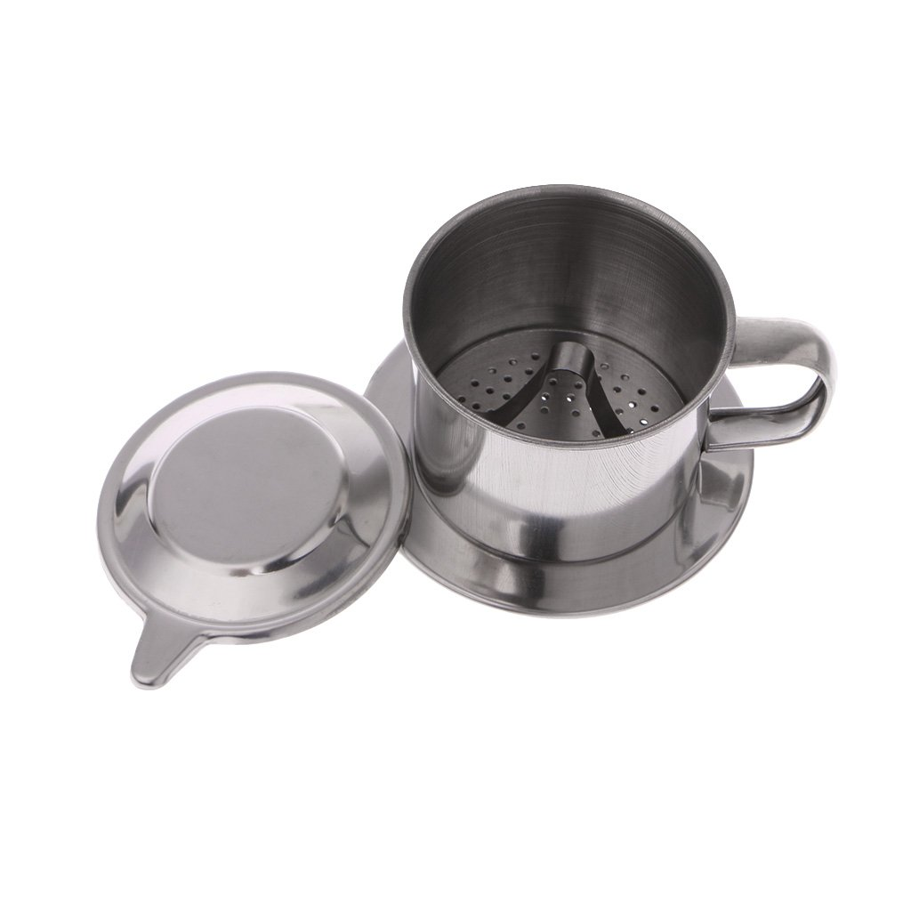 Chiic Stainless Steel Vietnamese Coffee Filter Unique Cup Drip Coffee Pot Brewer Paperless for Home Kitchen Office Outdoor S
