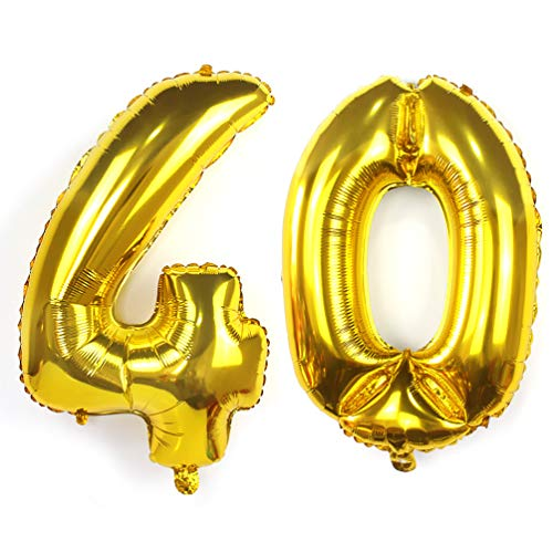 KIYOOMY 40 in Number 40 Balloon Gold Gaint Jumbo Foil Mylar Number Balloons for 40th Birthday Party Decorations (40 (Gold))