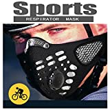 #5: Black Respirator Mask Dust proof Mask, Filtered Activated Carbon Filtration Exhaust Gas Anti Pollen Allergy PM2.5 Half Face Mask