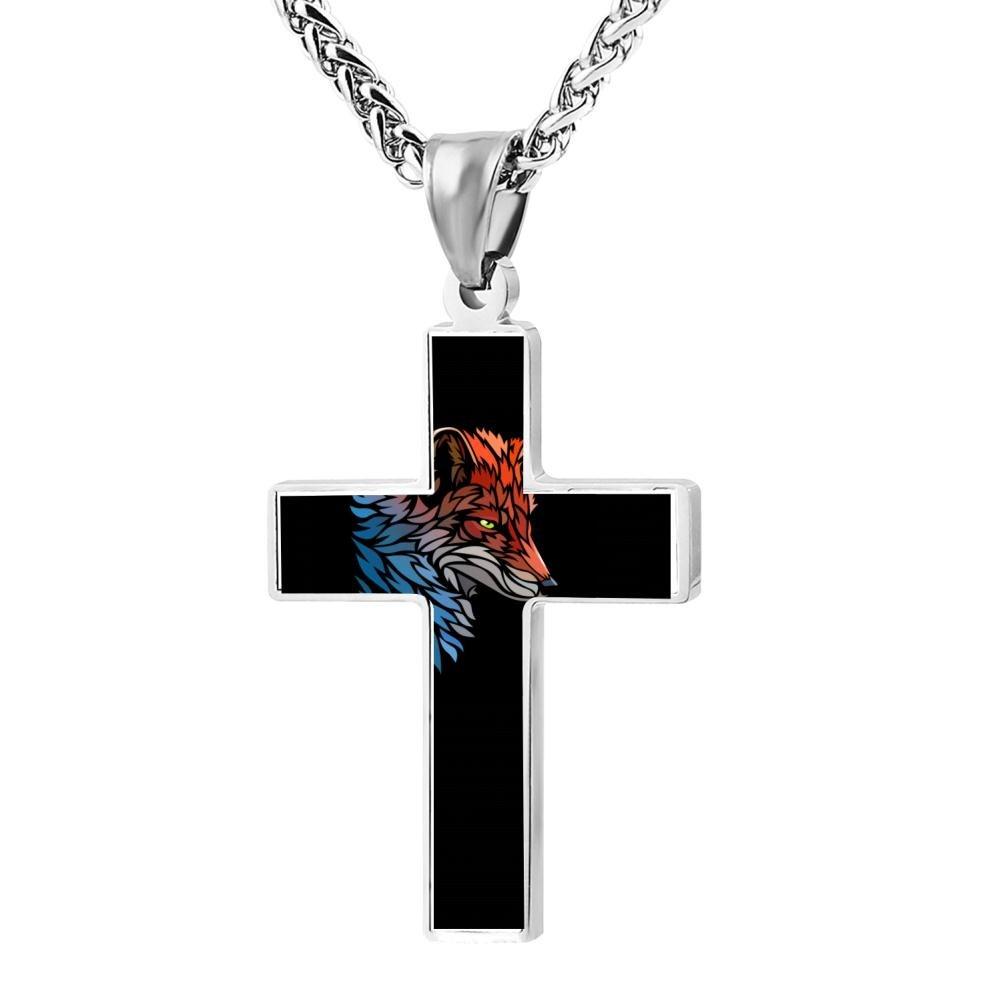 Kenlove87 Patriotic Cross Tribal Fox Religious Lord'S Zinc Jewelry Pendant Necklace