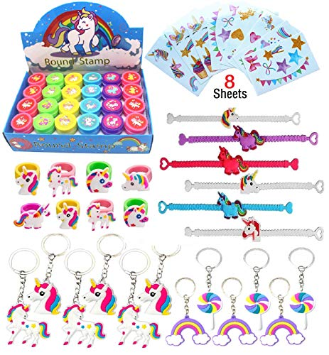Unicorn Theme Party Favor For Kids-96Pcs Unicorn Tatoo-24Pcs Unicorn Stamper-27 Pcs Unicorn Rings Necklace Keychain-Unicorn Birthday Party Supplies by Klmars