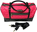 Betsey Johnson Be Mine Quilted Carry On Weekender Travel Duffel Bag - Fushia/Black