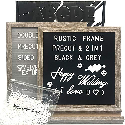 Muga Changeable Letter Board with Numbers and Letters, Rustic Frame Felt Letter Board with Stand, Script Words, Precut Letters, Picture Hangers, Farmhouse Wall Decor, Gift Box Ready