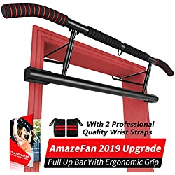AmazeFan Pull Up Bar Doorway with Ergonomic Grip - Fitness Chin-Up Frame for Home Gym Exercise - 2 Replaceable Accessories - 2 Professional Quality Wrist Straps + Workout Guide -No Installation Needed