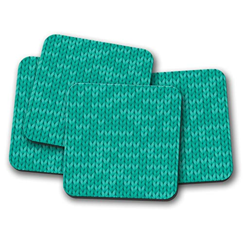 (4 Set - Wool Turquoise Coaster - Knit Knitting Throw Pattern Mum Fun Gift)