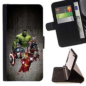 - The Superhero Team Iron Captain Viking - - Prima caja de la PU billetera de cuero con ranuras para tarjetas, efectivo desmontable correa para l Funny HouseFOR Samsung Galaxy S6 EDGE