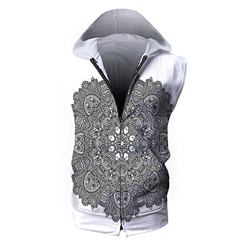 Men's Waistcoat Casual Hooded,Lotus,Ornamental Mandala with Lace Pattern Feature