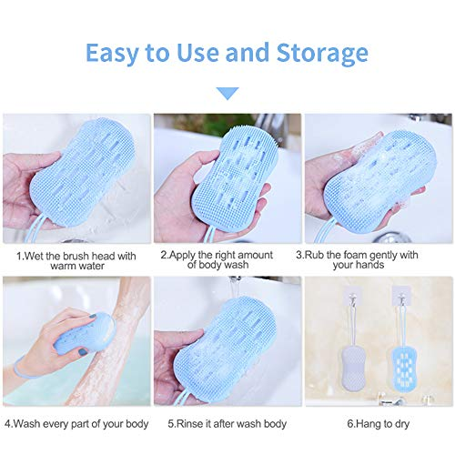Silicone Body Scrubber Double-sided Exfoliating Bath Shower Brush, Soft, Lathers Well, Deep Cleanse, Skin Massage and More Hygienic Than Traditional Loofah