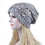 Acchen Headwraps Headwear Cancer Hat Lace Double Flowers Confinement Warm Chemo Caps