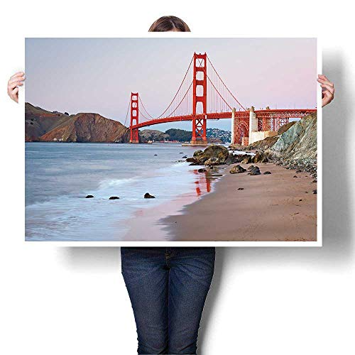 (Canvas Prints Wall Art,Golden Gate Bridge After Sunset,San Francisco Colorful Paintings for Living Room,24
