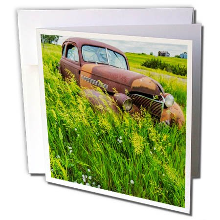 3dRose Danita Delimont - Automobiles - Rusty old vehicles in the ghost town of Okaton, South Dakota, USA - 12 Greeting Cards with envelopes (Old Junk)