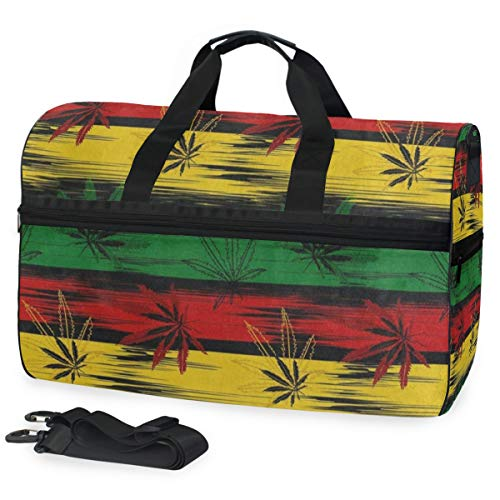 Gym Bag Abstract Colored Marijuana Cannabis Stripe Sport Duffle Holdall Bag Training Handbag Yoga bag for Men Women]()