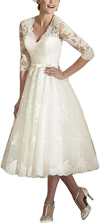 Anjuruisi Women S V Neck Long Sleeves Tea Length Short Wedding Dresses Amazon Co Uk Clothing