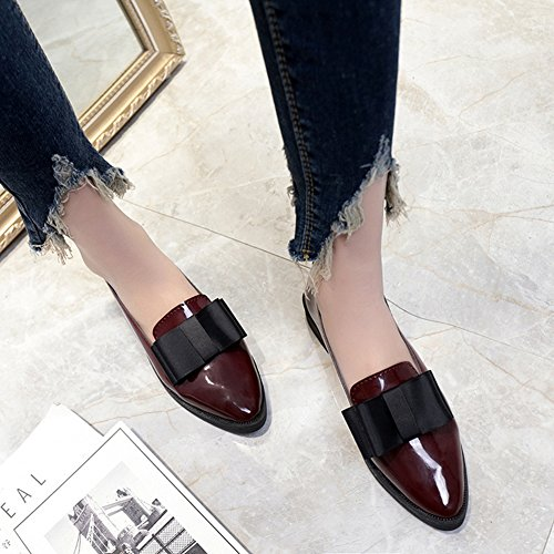 Btrada Mujeres Casual Bowknot Flat Point Toe Work Oxfords Mocasines Zapatos Rojo