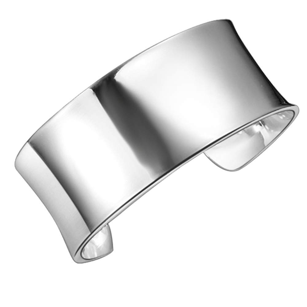 Onefeart Sterling Silver Bangle Women Girls Smooth Design Open Wristband 7x2.8CM Silver NEWA17th228