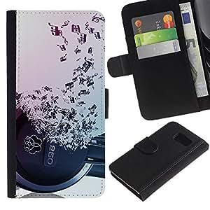 Paccase / Billetera de Cuero Caso del tirón Titular de la tarjeta Carcasa Funda para - Headphones Music Symbol Love Ears Notes - Samsung Galaxy S6 SM-G920