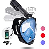 Foldable Full face Snorkeling mask with New Safety Breathing System, 180-degree Panoramic View, Waterproof and Anti-Fog, with Camera Stand, Universal Snorkeling mask for Adults and Children