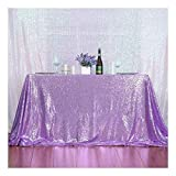 3e Home 60×120'' Rectangle Sequin Tablecloth for Party Cake Dessert Table Exhibition Events, Lavender