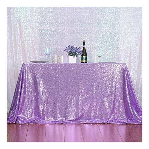3e Home 50×72'' Rectangle Sequin TableCloth for Party Cake Dessert Table Exhibition Events, Lavender
