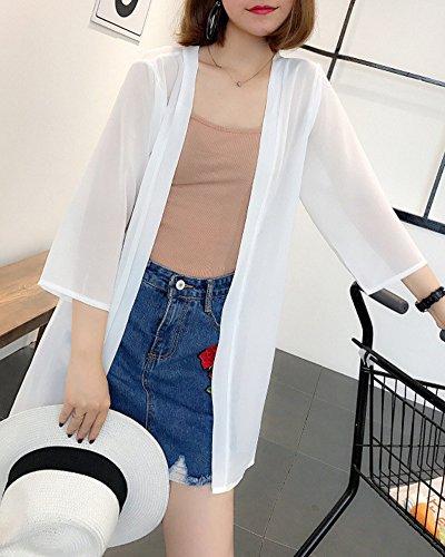 Lger Manches Femme Blouse Fluide Longues Blanc Cardigan Lache Liangzhu Casual 5qAd0wI